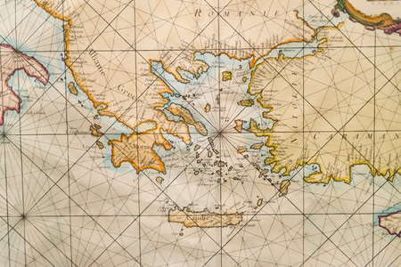 ancient: Old navigation map of Greece, western Turkey, Albany, Crete Editorial