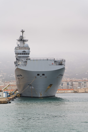 toulon: French navy Mistral class helicopter carrier in Toulon harbour Editorial