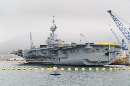 toulon: French military carrier, naval Toulon Harbour