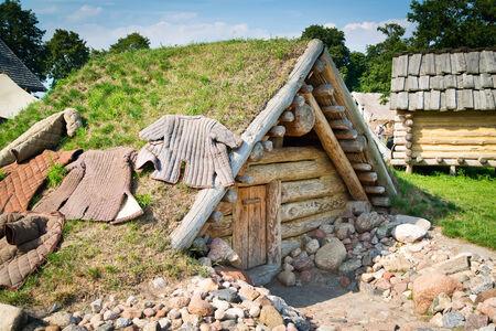 dugout: Old slavic hut Stock Photo