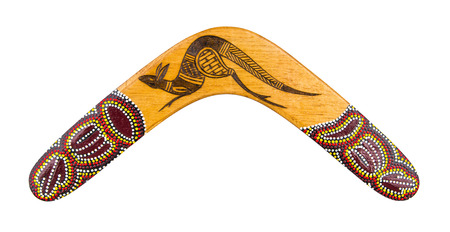 Australian boomerang isolated on white with clipping path