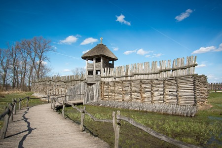 biskupin archaeological site: Biskupin main gate - slavic excavation site and museum