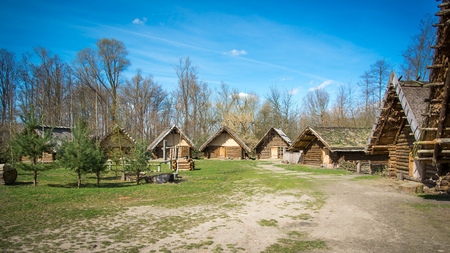 biskupin archaeological site: Biskupin houses - slavic excavation site and museum