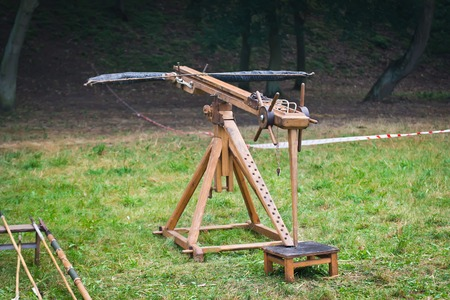 projectile: Ballista - ancient missile weapon that launched a large projectile at a distant target. Stock Photo