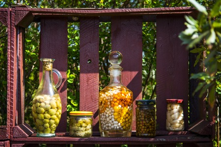 conserved: Preserves made of hop, rowan fruits and bean Stock Photo