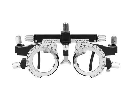 diopter: Closeup of eye test glasses on white background Stock Photo