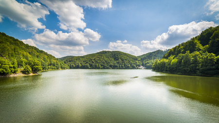 View on Bystrzyckie Lake from Water dam in Zagorze Slaskie