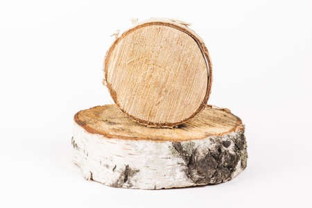 cut tree on white background. wooden tray.