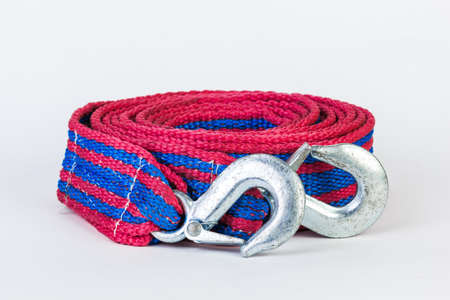 Bluered towing rope isolated on white background. Stock Photo