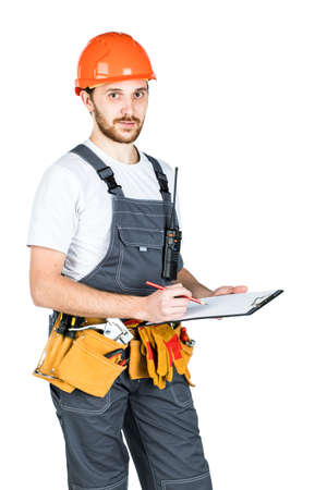 The builder writes to the clipboard. isolated on white background. Stockfoto