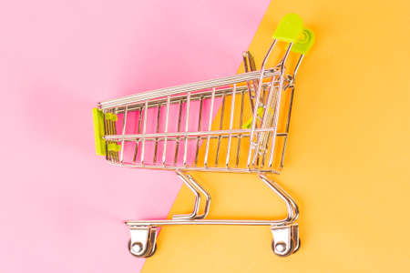 shopping basket on a colored background