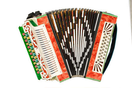 Old accordion isolated on white background