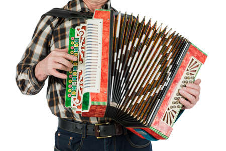 Musician hand playing accordions closeup. isolated on white background Stock Photo