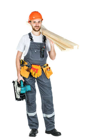 A construction man with boards or laminate in his hands. Repair and construction. Isolated over white background