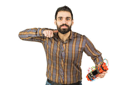 Arab man with a dynamite in his hands. Isolated on white background