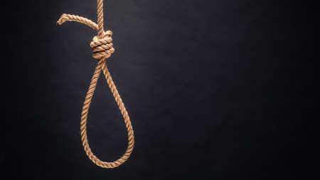 Noose. The concept of murder or suicide. On dark background. Reklamní fotografie