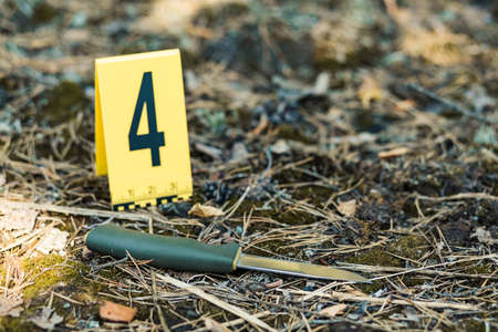 Knife's in the woods. photos of the murder and the crime scene investigation. Weapon, knife