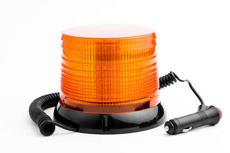 Orange rotating with wire lighthouse on white background