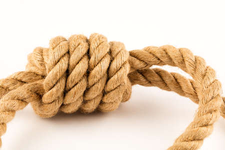 The gallows, a rope for hanging on a white background.