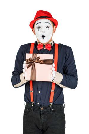 happy MIM holding gift box isolated on white 版權商用圖片