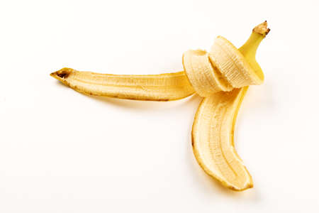 Banana rind close up on white background 版權商用圖片