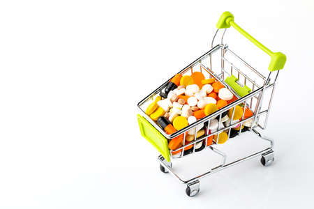 basket with drugs isolated on white background