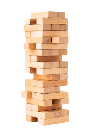 Close up blocks wood game isolated on white background 版權商用圖片