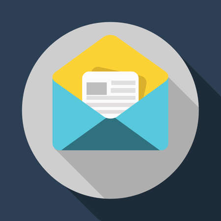 Open envelope and a letter. Official confirmation message, mail sent successfully, email delivery, verification email. Long shadow flat design.