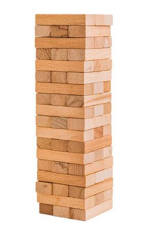 Bouchent le jeu de bois de blocs isolé sur fond blanc.