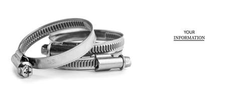 Different metal clamps for hose connection isolated on white background close up. Stock Photo