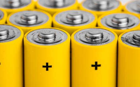 AA alkaline batteries on white background Stock Photo