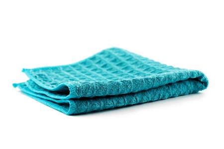 Sauberes blaues Küchentuch auf weißem Hintergrund Standard-Bild
