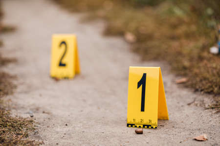 Crime scene with yellow signs. Crimes concept