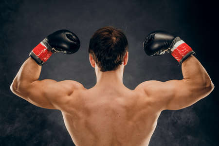 Back view of man boxer with raised hands in victory gesture. Concept of hard sport, glory and success. Stok Fotoğraf