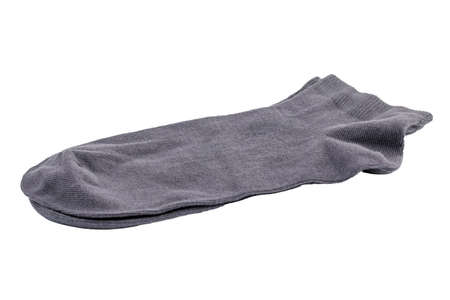 Grey short socks isolated on white background.