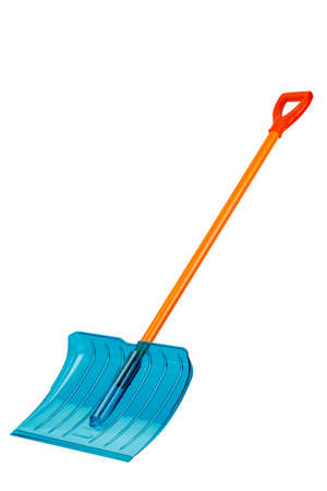 snow shovel with handle isolated on white background 版權商用圖片