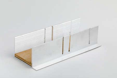 Aluminum mitre box on white background