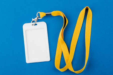 Work ID name tag. The ID of the employee. Card icons with ropes on a blue background Zdjęcie Seryjne
