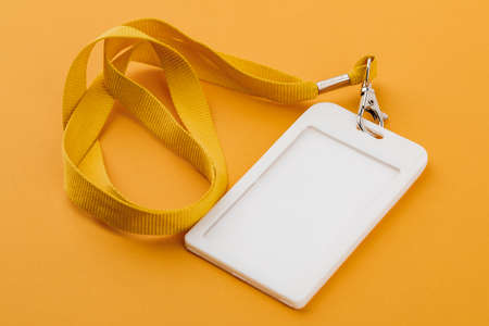 Work ID name tag. The ID of the employee. Card icons with ropes on a yellow background
