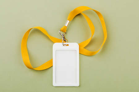 Work ID name tag. The ID of the employee. Card icons with ropes on a green background. Stock Photo