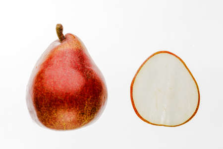 Sliced fresh juicy pears isolated on a white background