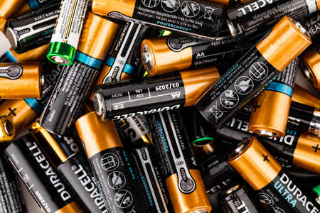 Russia Tambov 28.09.2020 used batteries from different manufacturers, waste, collection and disposal, high risk to the environment 報道画像