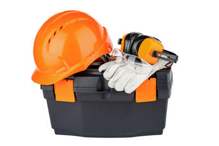 tool box with orange helmet and various hand tools.