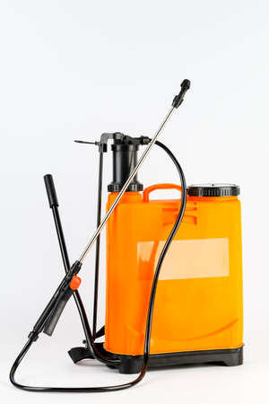 Pesticide sprayers on an isolated white background. to work in the garden and the vegetable garden. Agricultural sprayer.