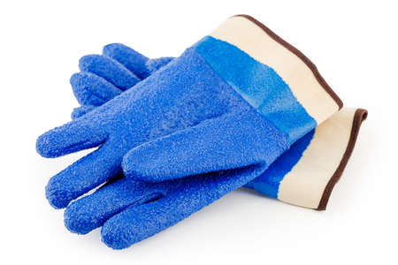 Blue rubber gloves on a white isolated background. Stock Photo