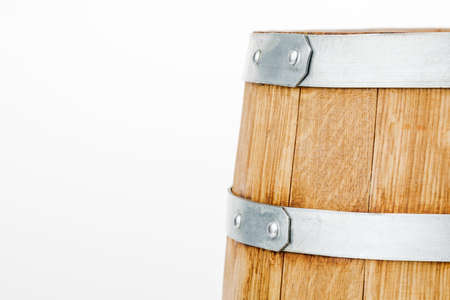 Wooden barrel, isolated on a white background