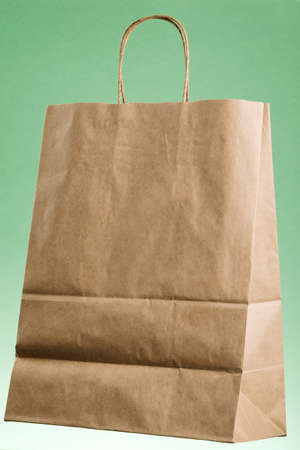 Empty brown paper shopping bag with Handles