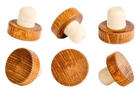 Set of old wine corks isolated on a white background Archivio Fotografico