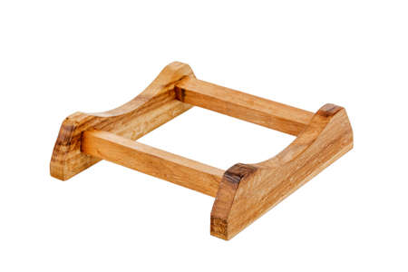 Wooden barrel stand on white background.