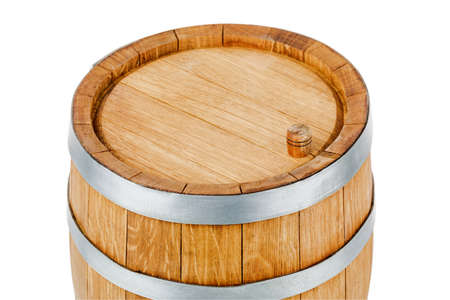 Wooden barrel, isolated on a white background Archivio Fotografico